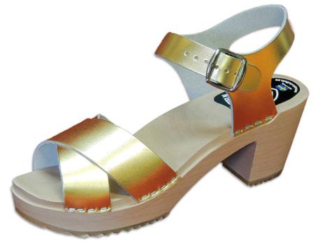 Träskosandal Ankle-Cross Guld-Metallic