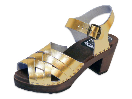 Träskosandal Ankle-Tripple Guld-Metallic Hög